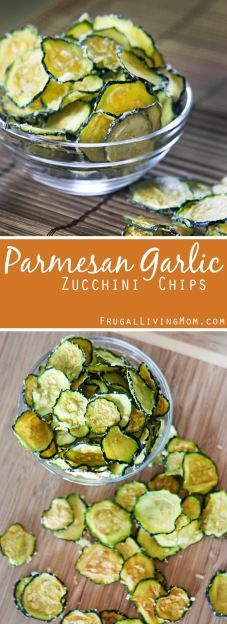 Parmesan Garlic Zucchini Chips recipe! Looking for a #healthy snack for the whole family?  Give these a try.