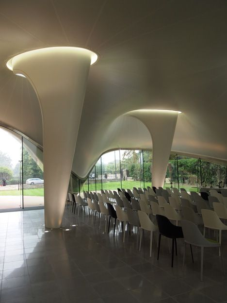 The new tensile structure is built from a glass-fibre textile, forming a free-flowing white canopy that appears to grow organically from the...