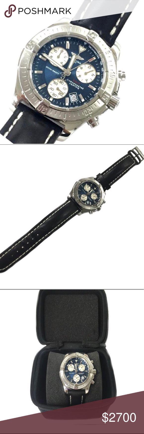 Colt Chronograph Steel Quartz Men's Watch A73380 Manufacture EN Susie Etanche 200M  Breitling 1884 Case diameter 41mm Quartz movement  Blue dial  Black band  Barely worn - no visible signs of wear, scratches, etc Box shown included Breitling Accessories Watches