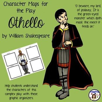 There are thirteen character maps for the play Othello by William Shakespeare in this product. There are character maps for Bianca, Brabanzio, Cassio, Clown, Desdemona, Duke of Venice, Emilia, Graziano, Iago, Lodovico, Montano, Othello and Roderigo. **The character maps come in both color and black and white  so you can decide which one would be better for your printing needs. You only need to print out every other page (either color or black and white.)