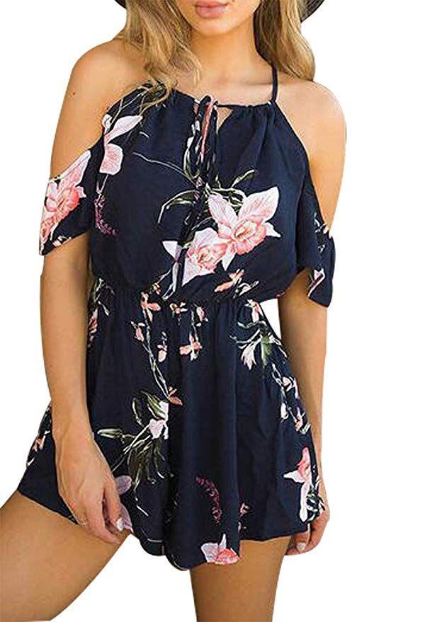 c1b199bbb85 Women Sexy Jumpsuits Romper Floral Print Off Shoulder Shorts Jumpsuit  Playsuit Size XL (Blue)