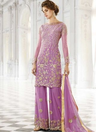 Lavender Embroidery Work Georgette Net Wedding Designer Palazzo Pakistani Suit http://www.angelnx.com/Salwar-Kameez/Pakistani-Suits