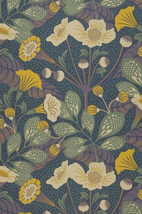 £50.30 Price per roll (per m2 £9.44), Floral wallpaper, Carrier material: Non-woven wallpaper, Surface: Smooth, Look: Hand printed look, Matt, Design: Leaves, Blossoms, Basic colour: Grey blue, Pattern colour: Pale green, Yellow, Light ivory, Red purple, Characteristics: Good lightfastness, Low flammability, Strippable, Paste the wall, Wash-resistant