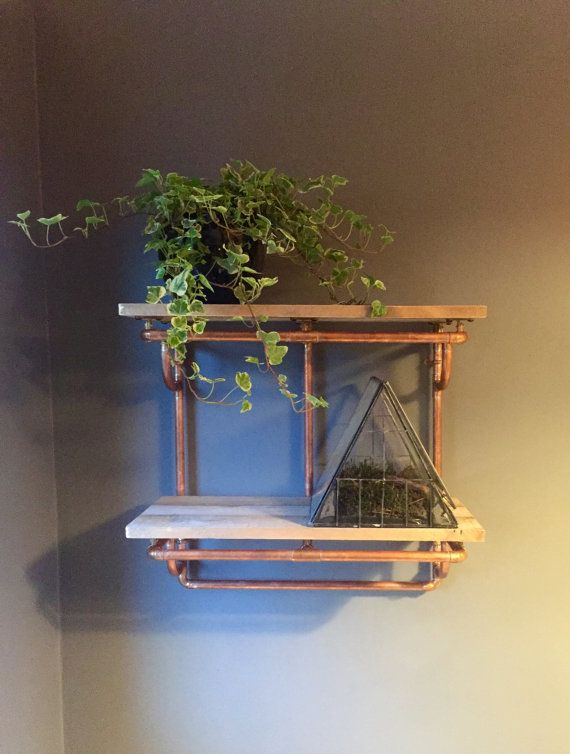 Copper Pipe and Reclaimed Wood Shelving Industrial Furniture - 2 Shelves - Looks…
