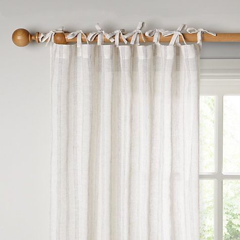 Buy John Lewis Ticking Stripe Tie Top Voile Panel Flint X Drop From Our Ready Made Curtains Voiles Range At