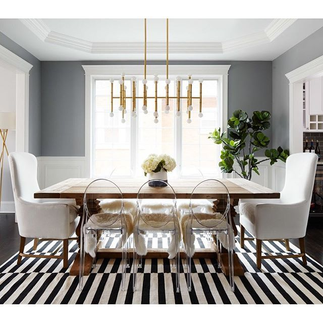 SnapWidget | This is a fun one from @homepolish! The striped rug, the head chairs…that chandelier  Would you like to see us recreate it for less? #copycatchic #roomredo #vote #diningroom #diningtable #diningroomdesign #diningroomupdate