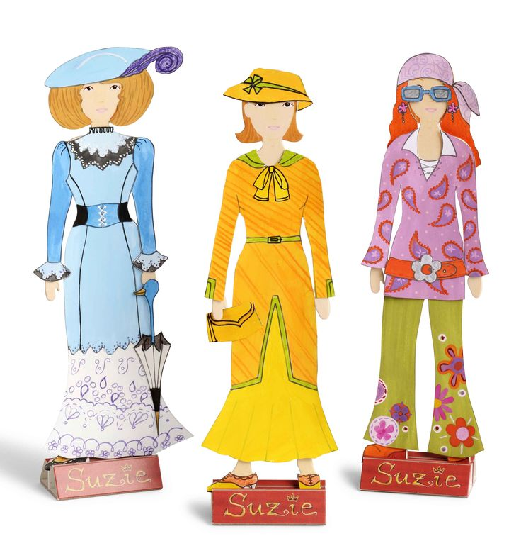 French Fashion Paper Doll Set - perfect for budding fashionistas!  8 outfits from the 'haute couture' of Paris from 1900 to 1970.  Cut them out, colour them in or use the printed patterns provided and model them on Suzie or hang them on the walls of her workshop.