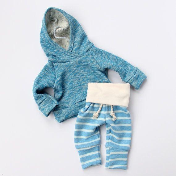 blue stripe skinny sweats by childHOODS on Etsy