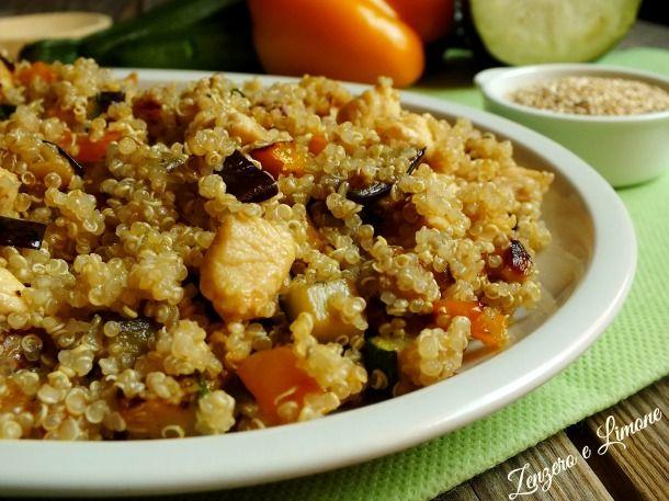 quinoa con verdure e pollo -