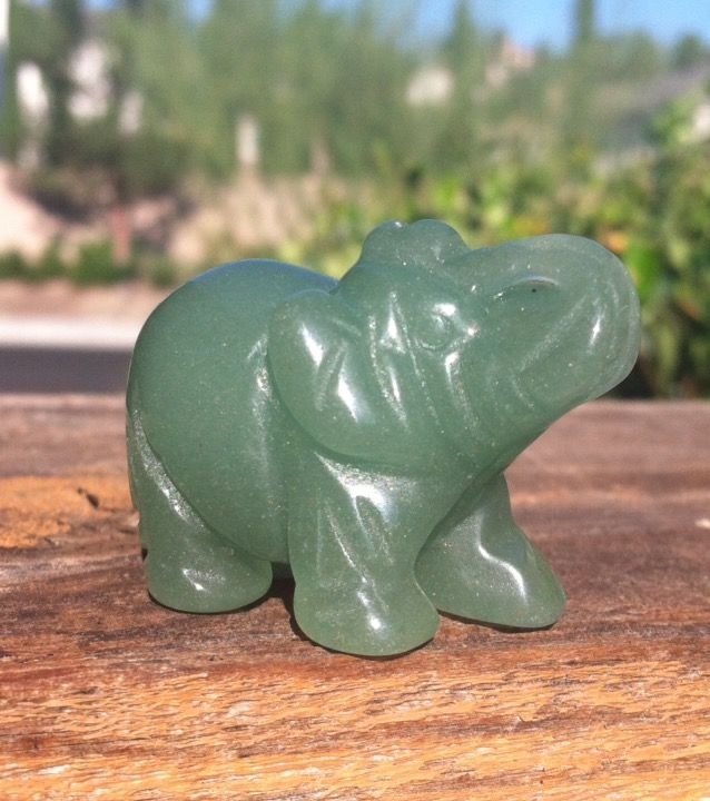 Green Aventurine Stone Carving Elephants Lucky Healing Gem Decor Gift