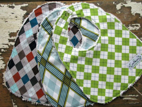 Baby Bibs for Baby Boy  SAVE on Set of 3  by theposhpeaboutique, $27.00