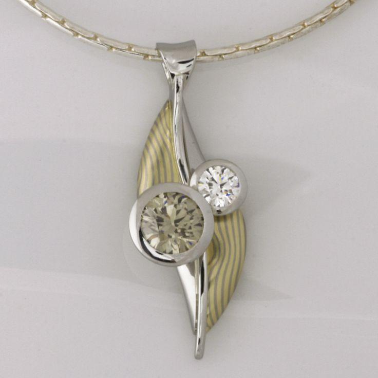 Mokume Gane pendant featuring green and white diamonds www.robertpaul.com.au