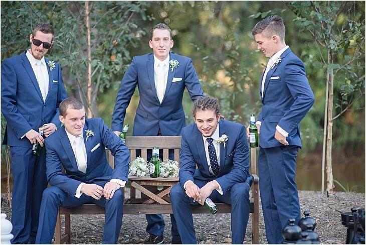 Braeside Chapel Wedding Loving the blue suits!