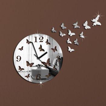 11 papillons Sculpture Art Mordern Luxury Design miroir cristal bricolage 3D horloge murale Wall Sticker salon chambre Decor