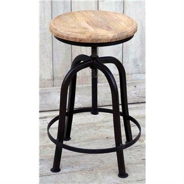Hind Marsh Industrial Adjustable Timber Seat Iron Bar Stool