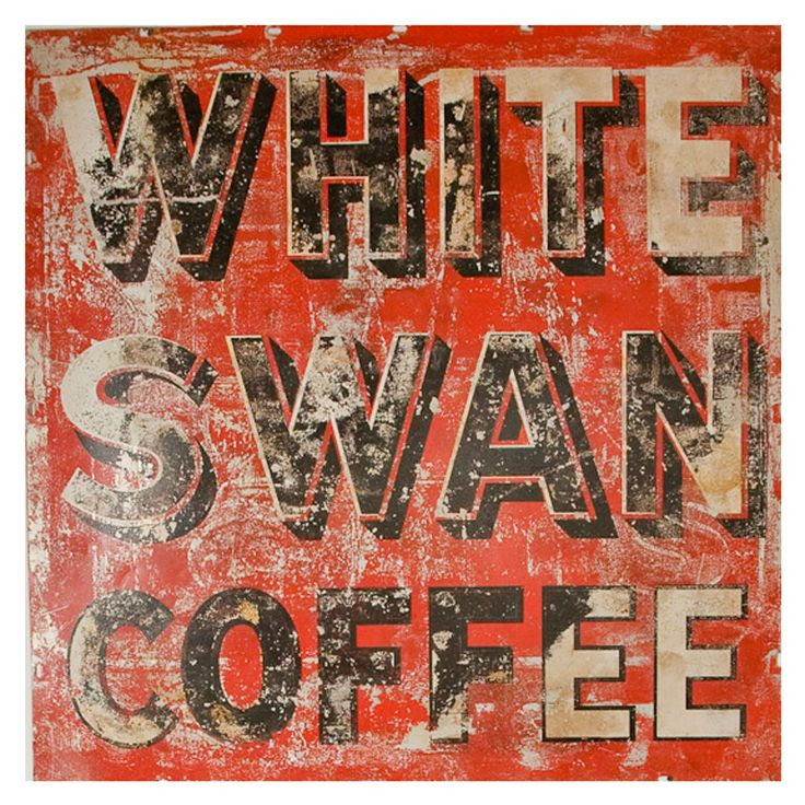 "Vintage ""White Swan Coffee"" General Store Advertising Sign"
