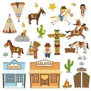 Ces 25 stickers cowboys vous proposent les plus grands acteurs du Farwest : cowboys, indiens, saloons, bank ... Tous ces stickers vont transformer la chambre et la salle de jeu des enfants en une véritable aventure !  2 choix de formats de planche possible : une Géante et une plus Petite  A vous de choisir selon vos envies !