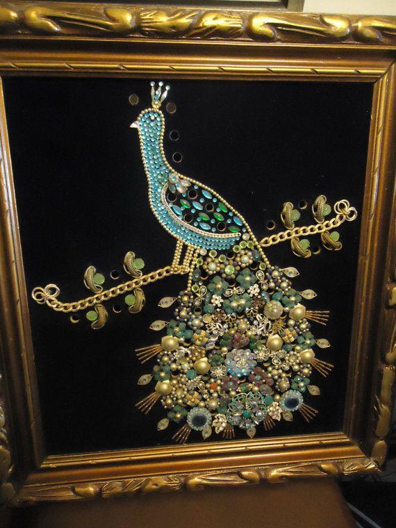 Now On Sale Vintage 1960 39 S Rhinestone Peacock Velvet Wall Hanging Aqua Collectible Mid Century