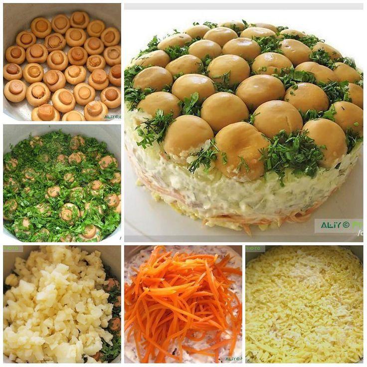 """Салат """"Грибная поляна""""  Ингредиенты:  грибы - 1 банка  лук зеленый и укроп  вареное мясо  морковь по-корейски - 200 г  твердый сыр - 200 г  картофель вареный- 3 шт.  огурцы маринованные - 3 шт.  майонез  Приготовление:  1. Главное взять подходящую посуду... наверное, лучше всего подойдет обычная средняя кастрюлька. Грибы уложить шляпками вниз  2. Сверху грибов мелко нарезанную зелень  3. Затем отварной картофель (мелко нарезанный). 4. Утрамбовать и смазать майонезом  5. Затем огурцы…"""