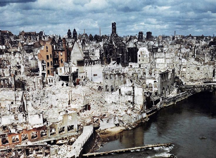 A color photograph of the bombed-out historic city of Nuremberg, Germany in June of 1945, after the end of World War II