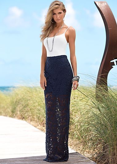 White seamless cami, dramatic lace maxi skirt, spandex underneath