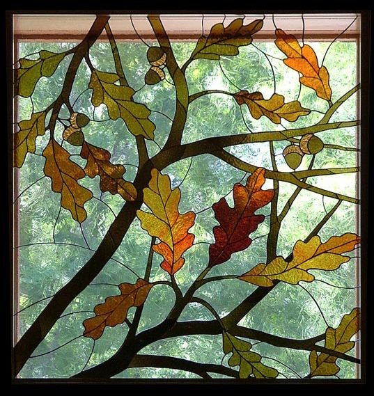 """Still Waters--Notes from a Virginia Shire: """"Stained Glass for Autumn""""  Photo of stained glass art by Anne Ryan Miller, Hoosierartist.com"""