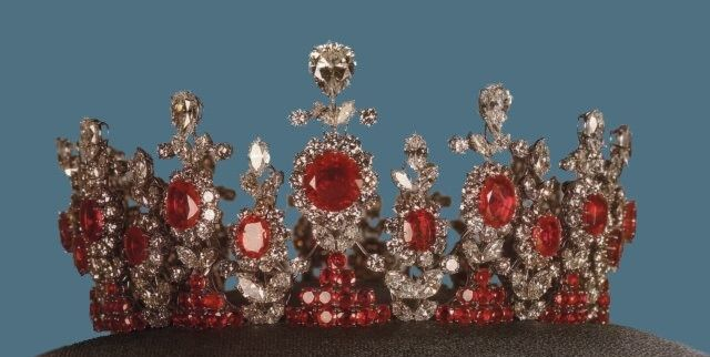 Princess Ashraf Pahlavi of Iran, Tiara of Rubies and Diamonds  The Shah's Twin Sister Princess Ashraf Pahlavi's Tiara of Rubies and Diamonds. Worn for the Coronation of her brother the Shah in 1967. (circa 1950's). She was one of the first Iranian women to show herself unveiled with her sister Shams and mother Taj Ol' Moluk during Reza Shah's reign to signify the emancipation of Iranian women in the early 30's.
