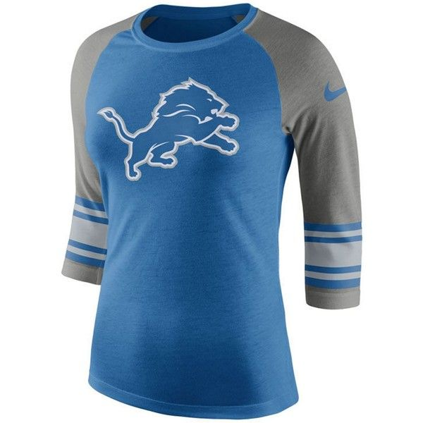 Nike Women's Detroit Lions Stripe Raglan Triblend T-Shirt ($40) ❤ liked on Polyvore featuring tops, t-shirts, blue, nike t shirt, t shirt, raglan shirts, striped t shirt and logo t shirts