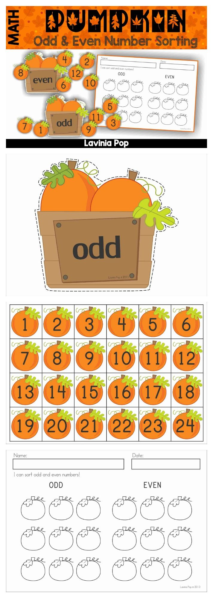 Odd and Even Number Sorting - Pumpkins {FREE}. A fun, hands on math center activity with response sheet.