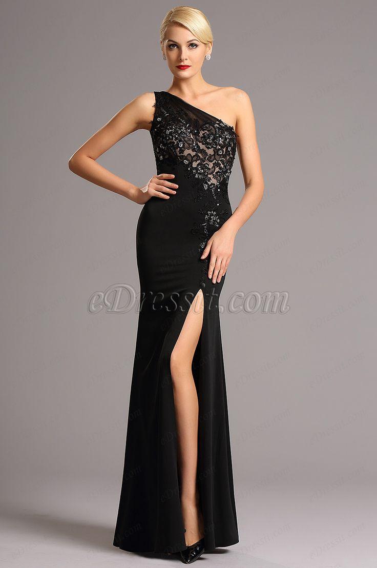 One Shoulder Black Evening Dress Formal Gown