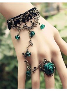Bohemian Retro Blue Rose Vines Women's Ring Bracelet