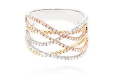 Anello in oro tricolore e diamanti 0,70 STROILI