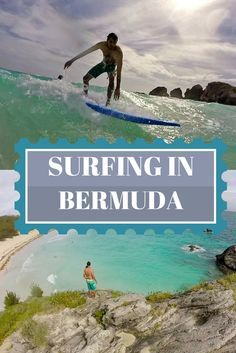Who knew you could surf in Bermuda? We went surfing at Horseshoe Bay Beach taking surfing lessons. Learn more here: http://justinpluslauren.com/surfing-in-bermuda/
