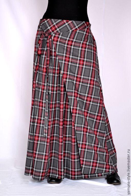 Купить Юбка серо-бордовая клетка с запахом. - серый, в клеточку, юбка, юбка в пол