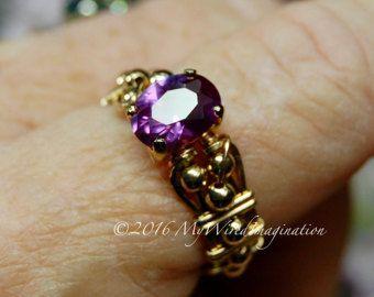 Cambiamento di colore di Alessandrite, mano artigianale Wire Wrapping anello, alessandrite filo avvolto anello, gioielleria, giugno Birthstone su ordinazione anello