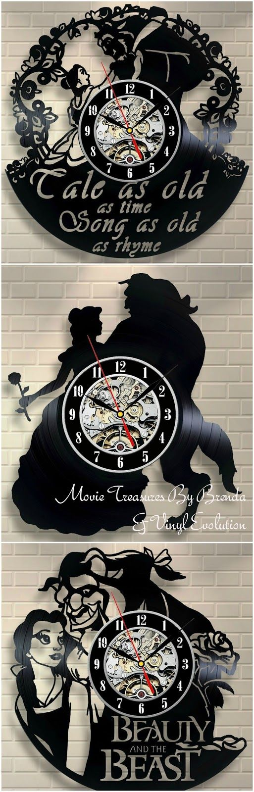 I love the fact that these Beauty And The Beast clocks are crafted from old vinyl records and that they feature scenes from Disney's ani...