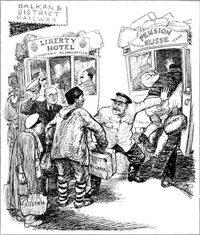 This cartoonof 18 June 1947by EH Shepard for the British magazinePunchshows Truman and Stalin as two taxi-drivers trying to get customers. The 'customers' are labelled 'Turkey', 'Hungary', 'Bulgaria', 'Austria'.