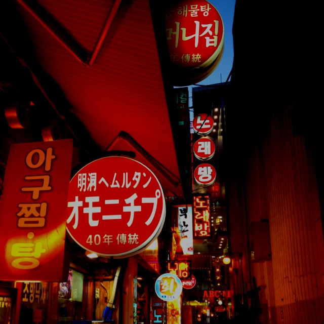 Seoul alley at night.