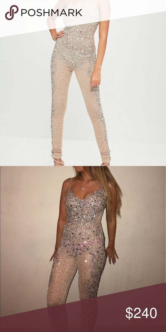 Carlibybel nude jumpsuit Worn once, some sequins fell off not noticeable, but will include additional ones. adjustable straps. Exclusive carlibybel missguided holiday collection Missguided Pants Jumpsuits & Rompers