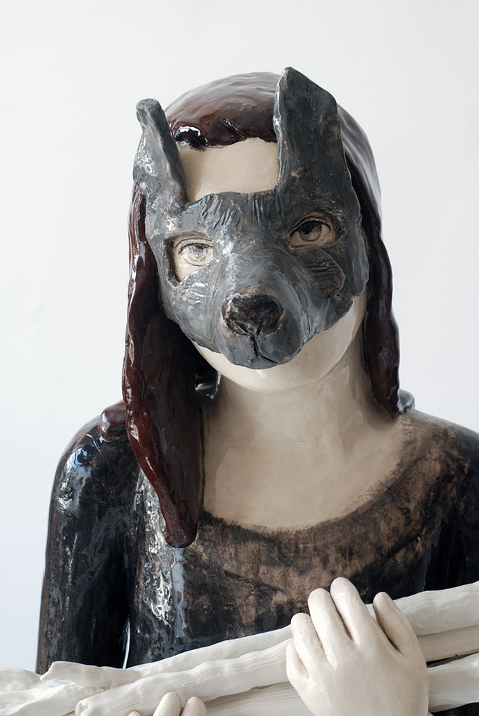 Clémentine De Chabaneix -Petite louve(detail) faience emaillee 115x52x36cm 2014