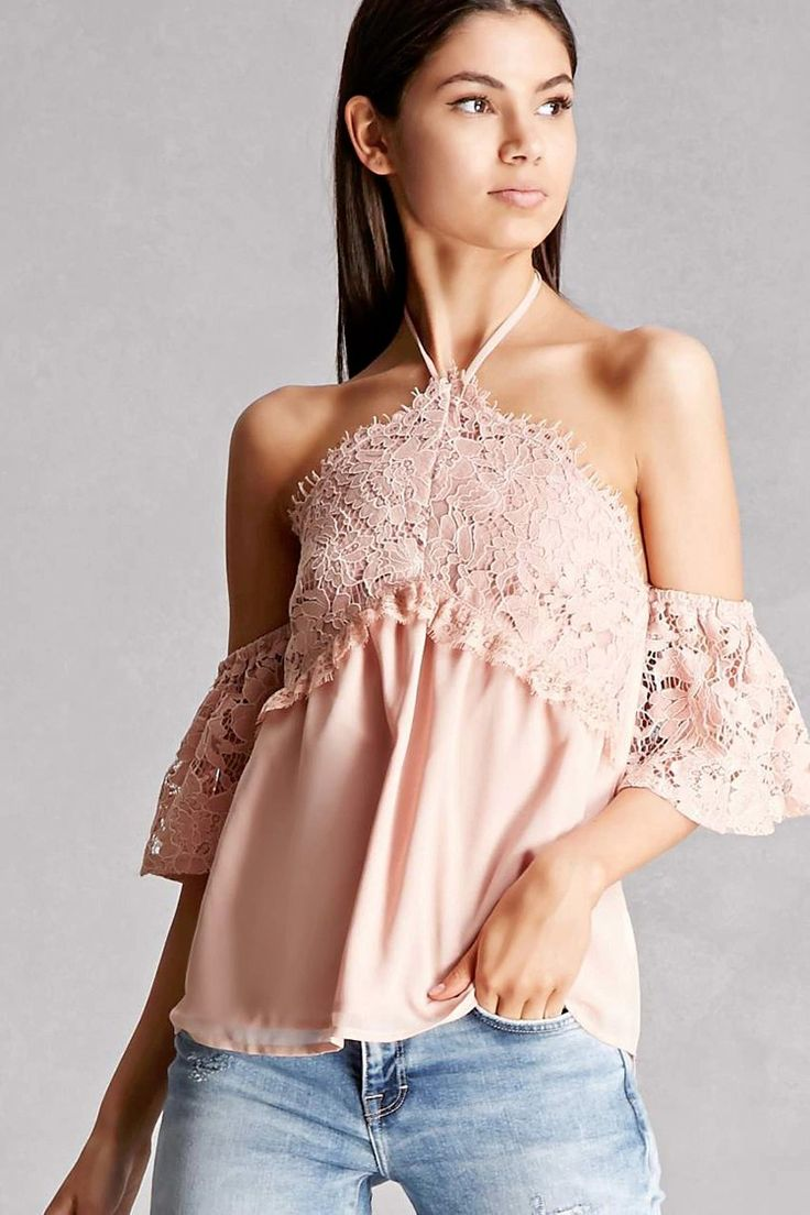 A woven top featuring an open-shoulder design, a self-tie halter neck, short lace sleeves, and lace overlay on the bust. This is an independent brand and not a Forever 21 branded item.