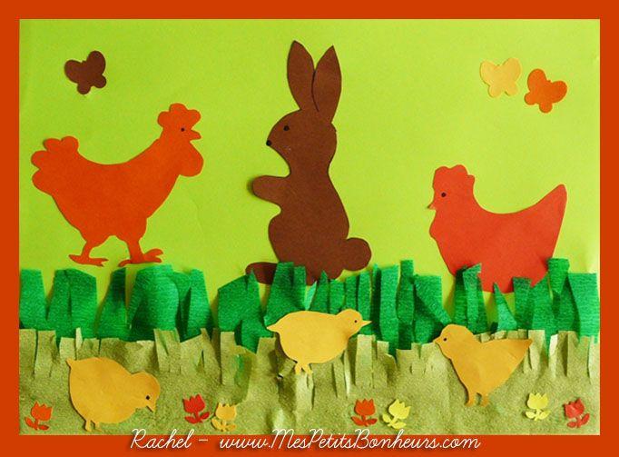 Dessins de p ques mod les de lapins poules et poussins gabarits d couper paques - Bricolage lapin de paques ...