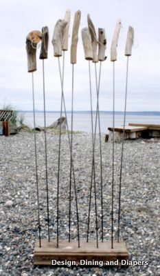 (roasting sticks with drift wood handles)These are just too cute!  What a great idea for beach camping