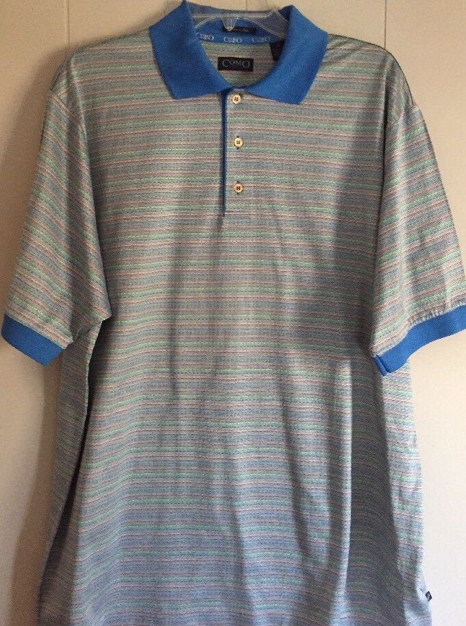 ac035b188 Men's Como Sport Blue Multi Color Stripe Large Golf Polo Shirt Made in  Italy #fashion #clothing #shoes #accessories #mensclothing #shirts (ebay  link)