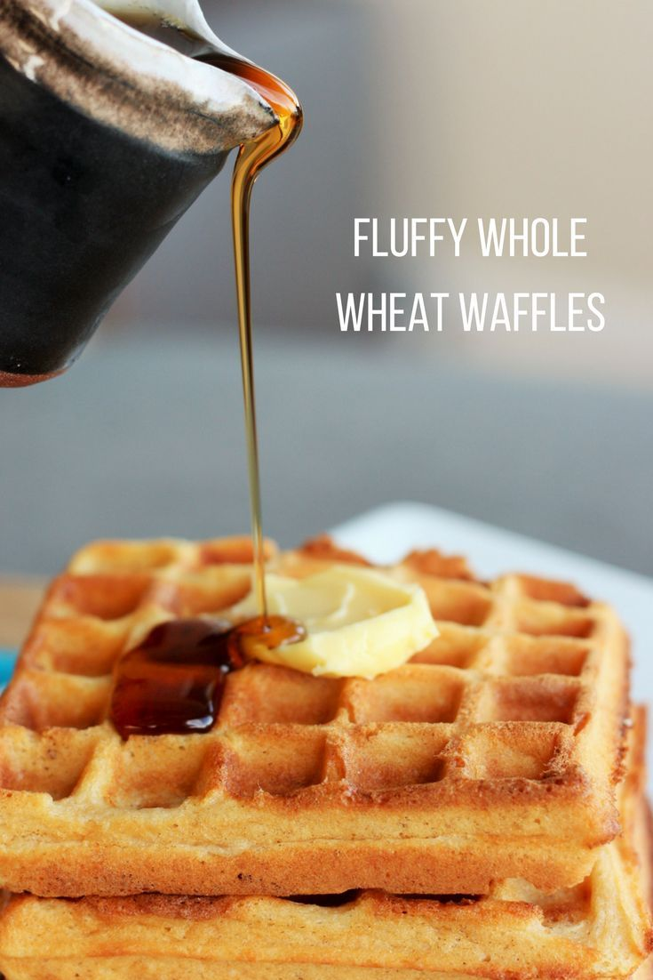 These Fluffy Whole Wheat Waffles turn out perfectly every time. They are light, fluffy, and made from scratch. Only you will know they're whole wheat. via @https://www.pinterest.com/frugalbychoice/