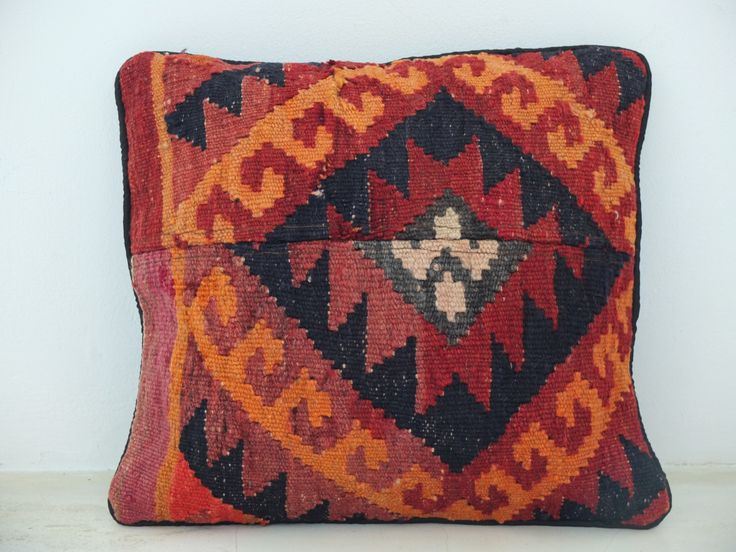 Boho Cushion Pillow Cover - Thick Wool - Ethnic Orange and Red Accents - 15' x 14' Inch (38x36 cm) - #Boho #Rustic #Home #Decor. See on Etsy: https://www.etsy.com/listing/197713591/boho-cushion-pillow-cover-thick-wool?ref=shop_home_active_3