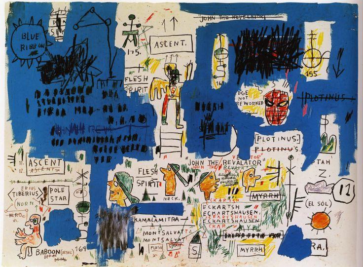 "artist-basquiat: "" Ascent, 1983, Jean-Michel Basquiat Size: 76.5x57 cm Medium: acrylic, charcoal, crayon, pastel, pencil"""