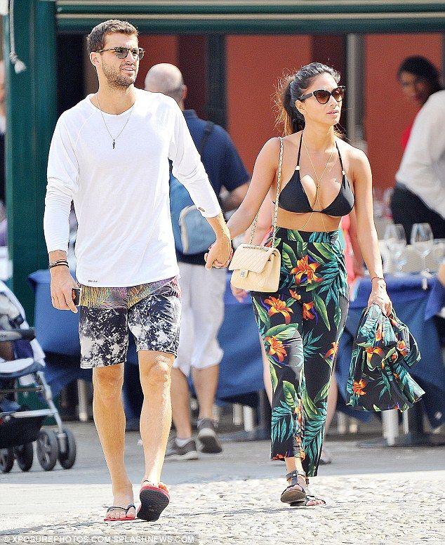 Holding hands:Nicole Scherzinger andGrigor Dimitrov enjoyed a romantic stroll on holiday in Portofino, Italy on Monday