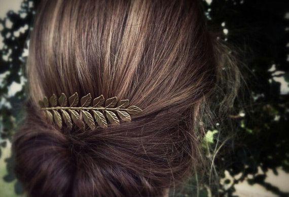 Laurel Leaf Hair Comb Gold Leaf Hair Comb Bridal par OLIVIABRUN