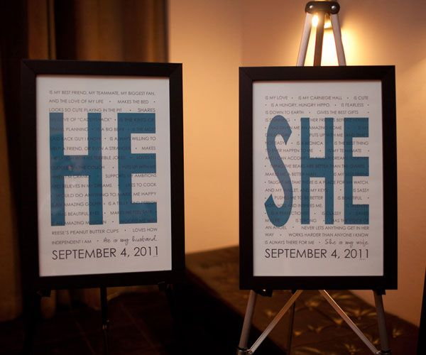 """Super cute idea - """"he"""" and """"she"""" posters saying what they love about each other!"""